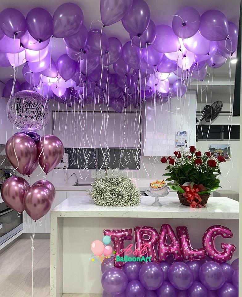 Happy Birthday Party Design With Purple Color A E Balloonart